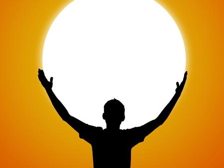 Silhouette and big the sunset and orange sky Standard-Bild