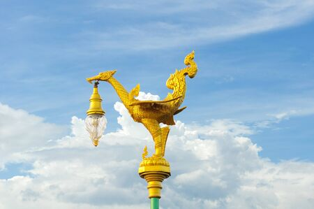 floor lamp for decorate garden or walkway  The structure of the golden bird photo