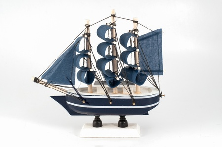 keel: Ship model isolated on white a background. Stock Photo