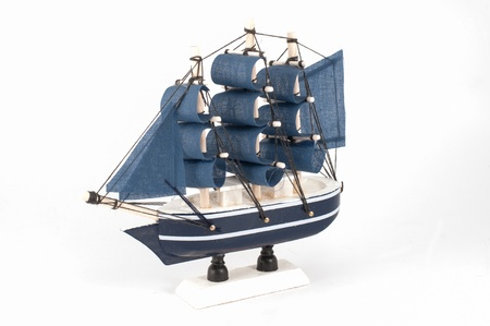 Ship model isolated on white a background  photo
