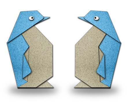 origami couple of penguin on white blackground Stock Photo
