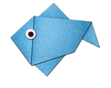 origami fish made of paper on white background