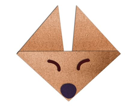 origami face fox made of paper on white background Stock Photo - 16136796