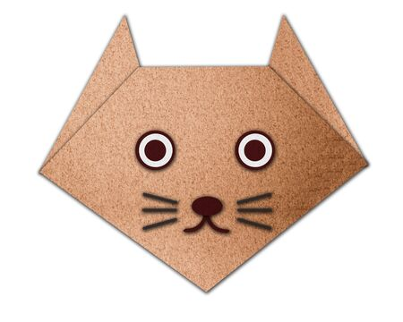 Origami cat made from paper on white background photo