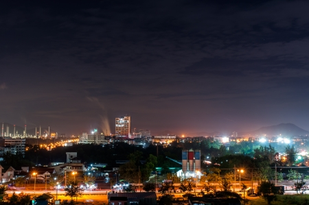 city skyscrapers night view of Chonburi Thailand photo