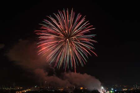 Fireworks light at chonburi city of Thailand Stock Photo