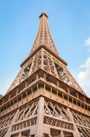 eiffel tower  is reproduced to mini size in mini siam, Thailand.