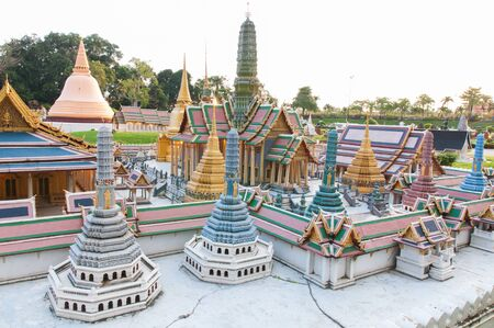 reproduced: The royal temple of the emerald budoha is reproduced to mini size in mini siam, Thailand.