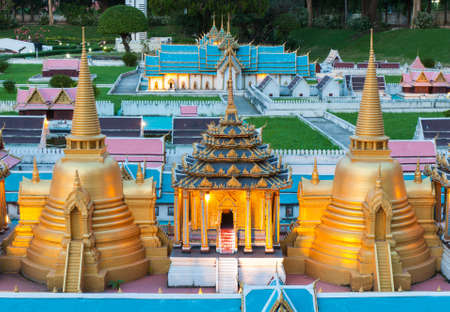 reproduced: Wat thai is reproduced to mini size in mini siam, Thailand. Editorial