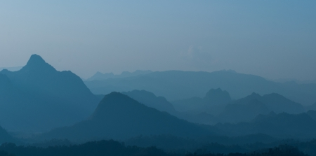 Layer mountains north at sunrise of thailand photo