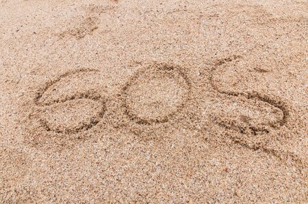 S.O.S written in the sand with a finger or stick Stock Photo - 17754181