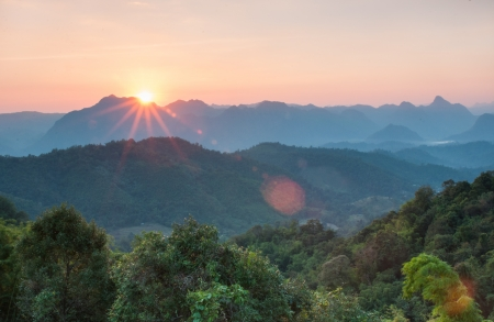 Majestic sunset in the mountains landscape at National mother Thailand photo