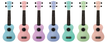 Ukulele color on isolated  a white background photo