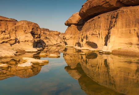 Sam Phan Bok rock canyon beside Khong river,Ubon Ratchathani of Thailand. photo