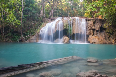 Waterfall deep forest  at Erawan waterfall National Park Kanchanaburi of Thailand photo