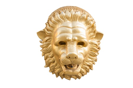 statue of golden lion head isolated on white background photo