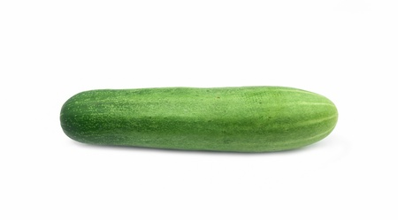 One green cucumber isolate on white background Archivio Fotografico