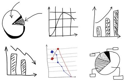 graficas de pastel: Gr�ficos Doodle a mano sobre fondo blanco