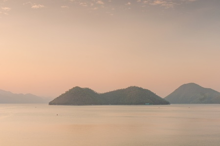 Scenic of Srinakarin dam at kanchanaburi of Thailand photo
