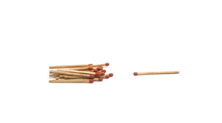Isolated group of matchstick on white background photo