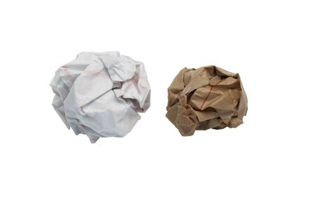 Lump crumpled paper isolate on white background photo