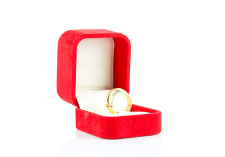pair ring in a gift red box on white background photo
