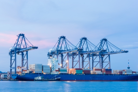 sea port: Industrial shipping port or Cargo sea port of Thailand Stock Photo