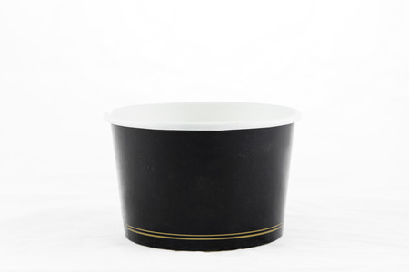Black Blank Paper Cup Ice Cream On White Background