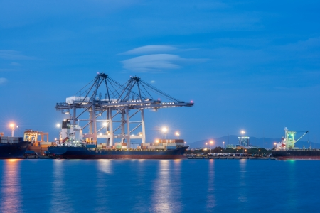 Industrial shipping port or Cargo sea port of Thailand photo