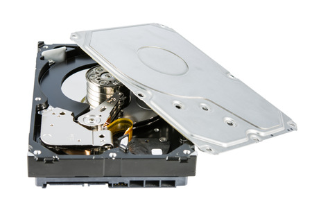 hard drive crash: Hard disk drive (HDD) dismantle isolated on white .