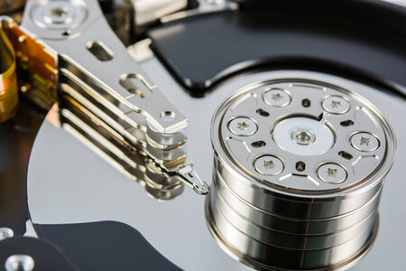 close up of a hard disk inside photo