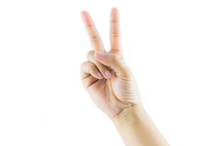 Hand gesture number two isolate on white background photo