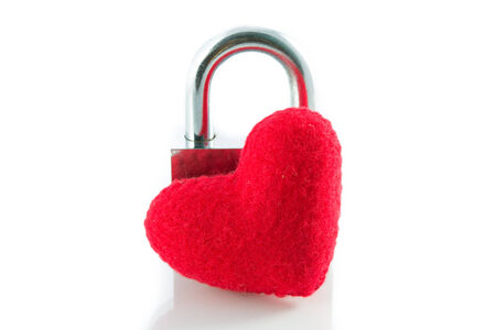 Red heart key locks isolate on white background photo