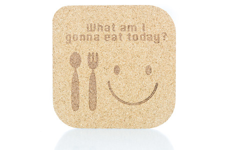 what to eat: wood texture write what am i gonna eat today concept on white background