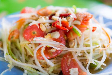 tam: Closeup Macro Thailand Papaya or Som Tam Stock Photo
