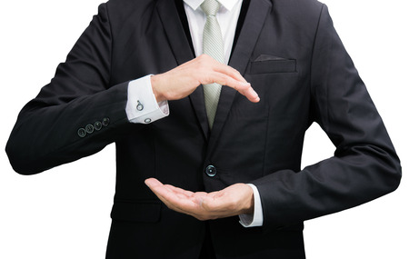 Businessman standing posture show hand isolated on over white background