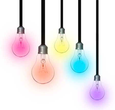 idea concept, lamp lighting bulbs isolate on over white background photo