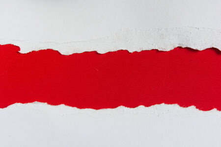 tear red paper pieces of paper on white background photo