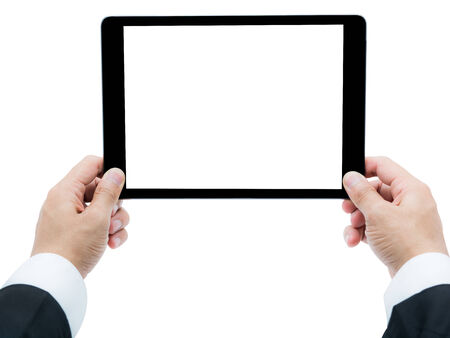 Businessman hands holding tablet Isolated photo