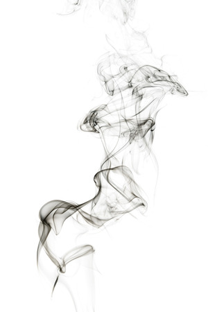 Abstract incense smoke isolated on white  background