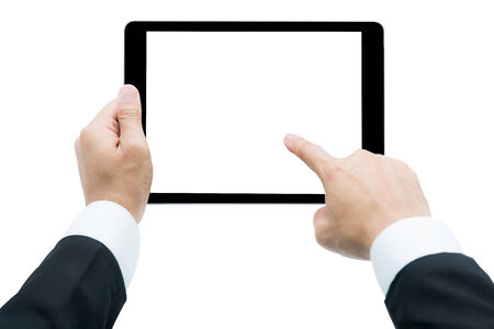 Businessman hands holding tablet Isolated on over white background photo