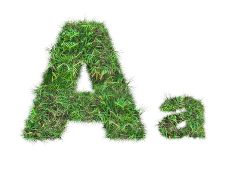 letter A on green grass isolated on over white background Stockfoto