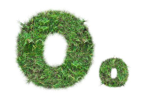 letter O on green grass isolated on over white background