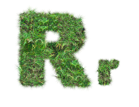 letter R on green grass isolated on over white background Stockfoto