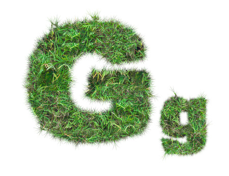 letter G on green grass isolated on over white background