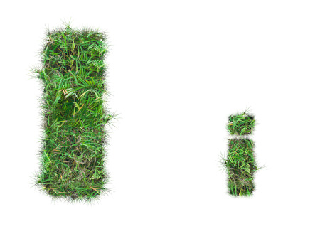 letter I on green grass isolated on over white background