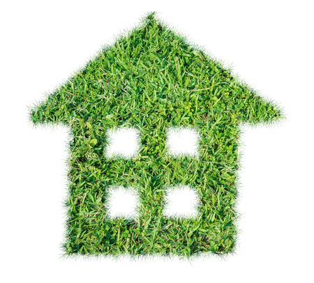Abstract green grass house icon on over white background photo