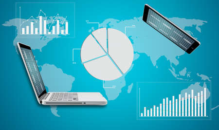 Tablet and computer laptop globe graph finance on blue background photo
