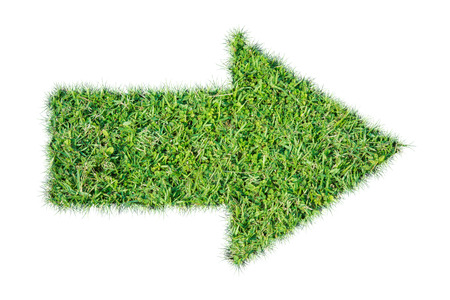 Green grass ecological arrow icon on over white background 스톡 콘텐츠