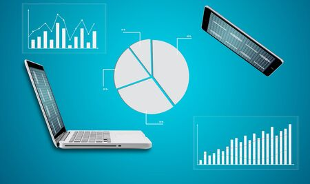 Technology laptop computer with graph finance forex chart on blue background photo